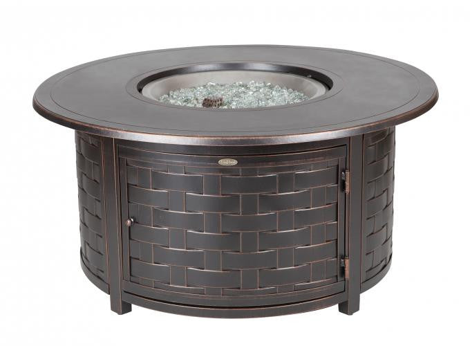 Perissa Woven Round Cast Aluminum LPG Fire Pit , Well Traveled Living- grayburd