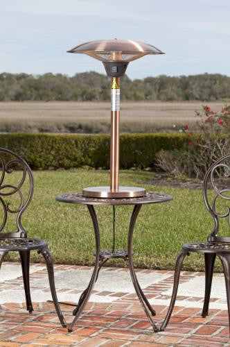 Cimarron Brushed Copper Colored Table Top Halogen Patio Heater , Well Traveled Living- grayburd