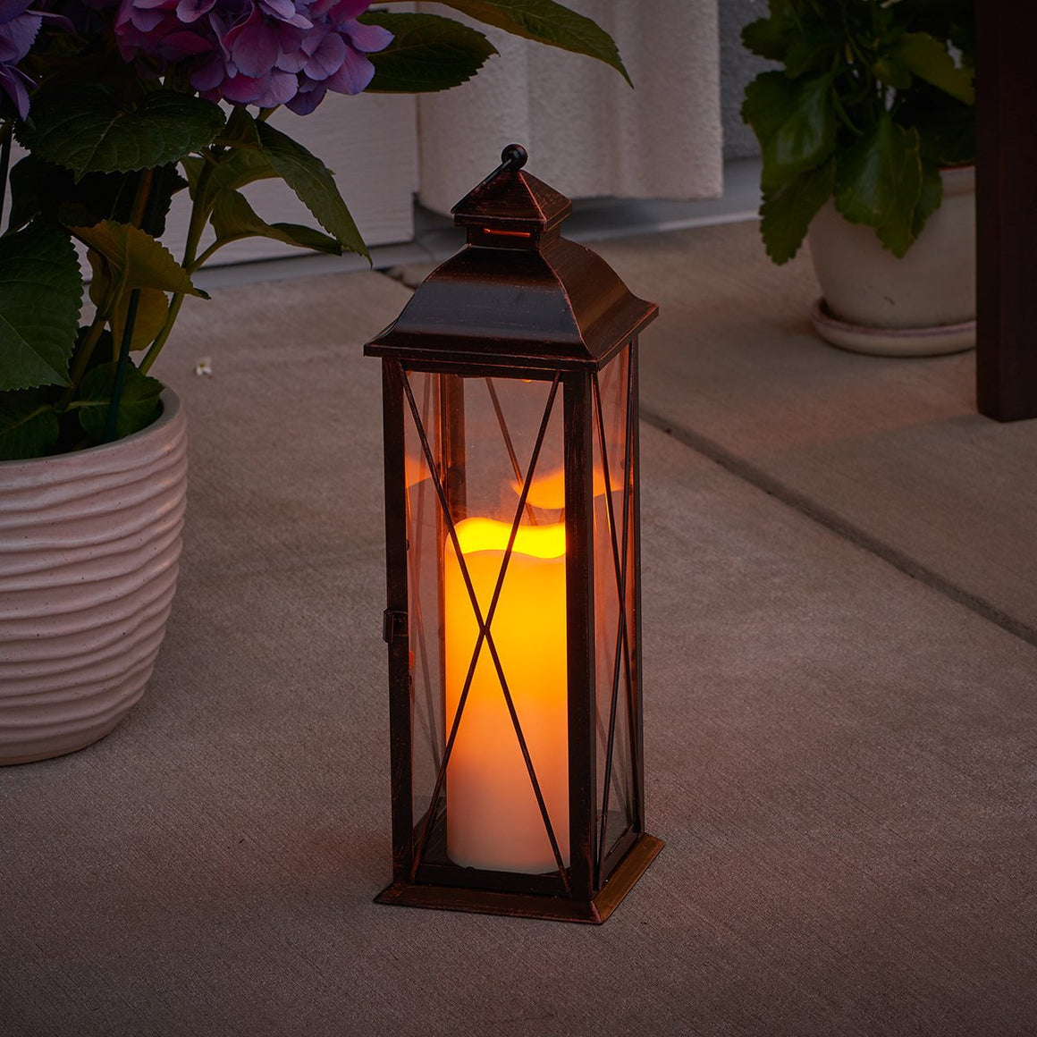 "Siena 16"" LED Candle Lantern - Antique Bronze"