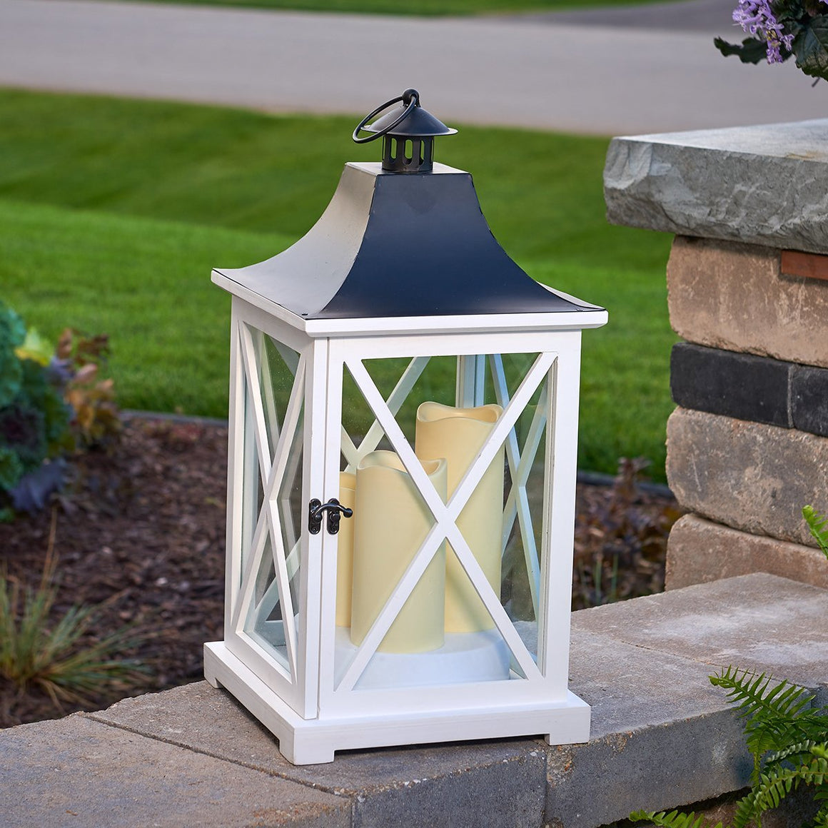 "York 20"" Triple LED Candle Lantern - White"