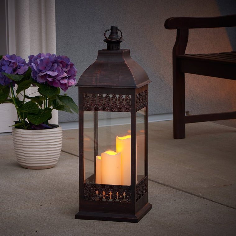 "Salerno 27"" Triple LED Candle Lantern - Antique Bronze"