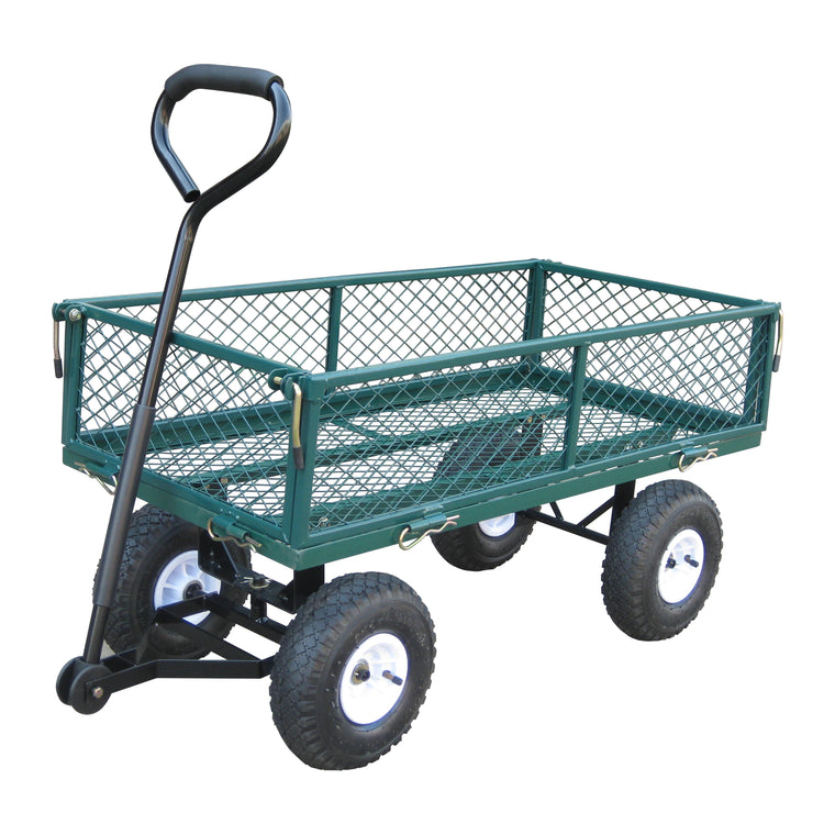 Garden Steel Cart with Pneumatic Wheels , Bond- grayburd