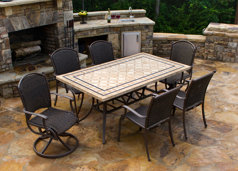 "Marquesas 7Pc Dining Set (4 chairs, 2 swivel rockers, 70"" stone table)"