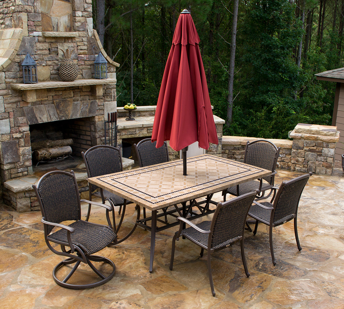 "Marquesas 7Pc Dining Set (6 chairs, 70"" stone table)"