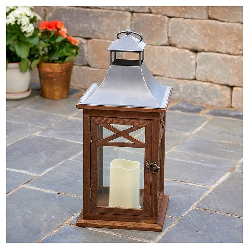 "Portland 14"" LED Candle Lantern - Dark Coffee"