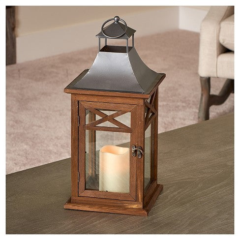 "Portland 17"" LED Candle Lantern - Dark Coffee"