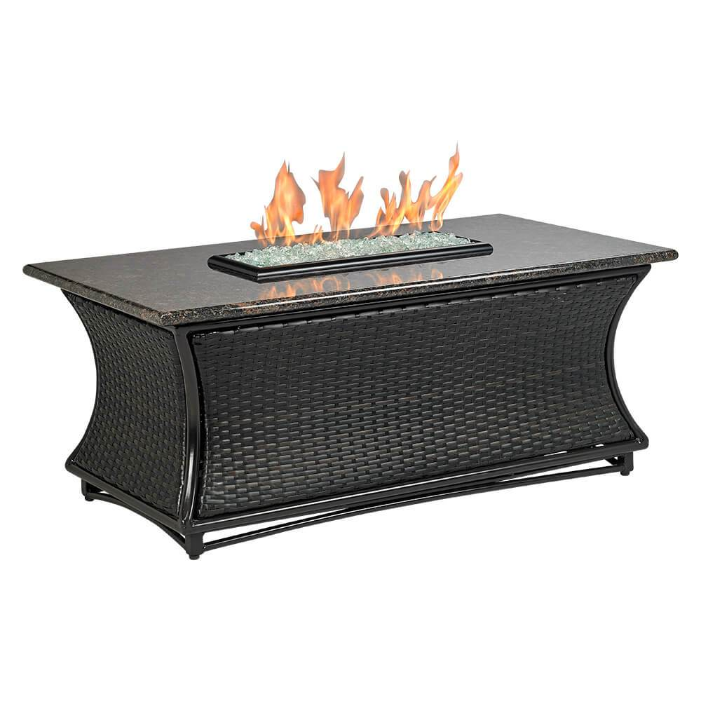 "Santa Cruz Rectangle Fire Pit w/ 54"" x 28"" Black Mahogany Granite Top"