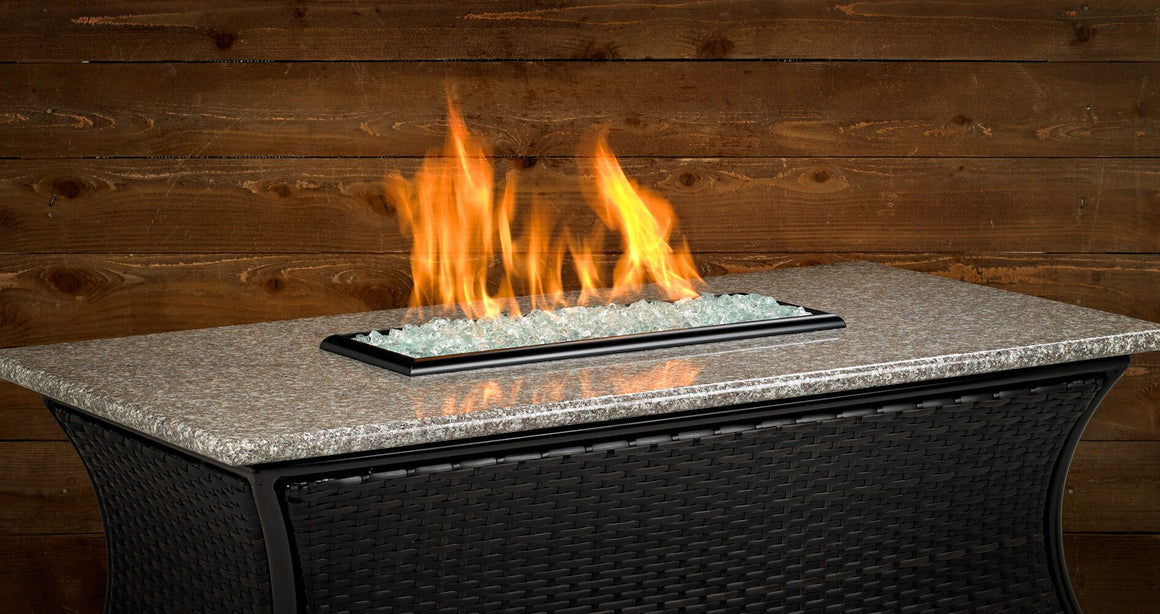 "Santa Cruz Rectangle Fire Pit w/ 54"" x 28"" Pebble Granite Top"