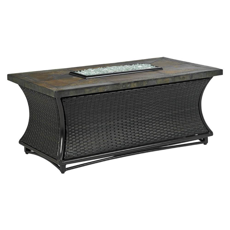 Santa Cruz Square Fire Pit Table With Rusty Slate Mosaic Top