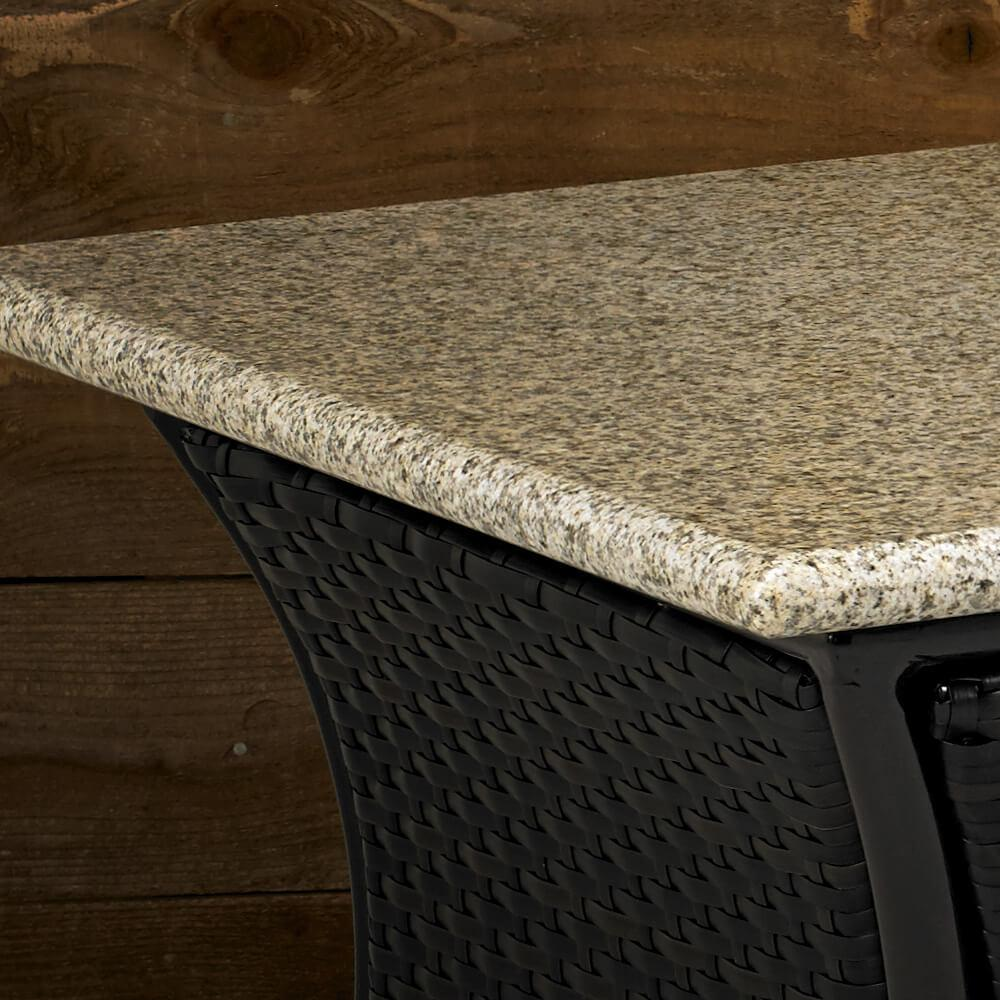 Santa Cruz Rectangular Fire Pit Table With Sunset Gold Granite Top