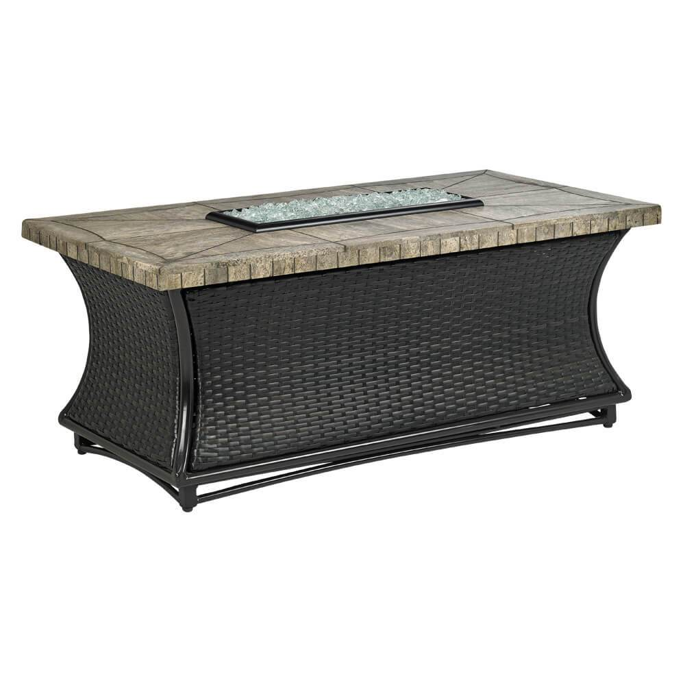 Santa Cruz Square Fire Pit Table With Gray Travertine Mosaic Top
