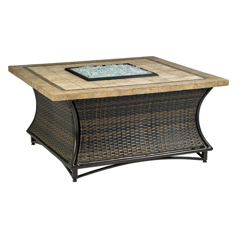 "Heaters & Fireplaces Santa Cruz Fire Pit w/ 48 "" Square Capistrano Mosaic Top by American fireglass Selections"
