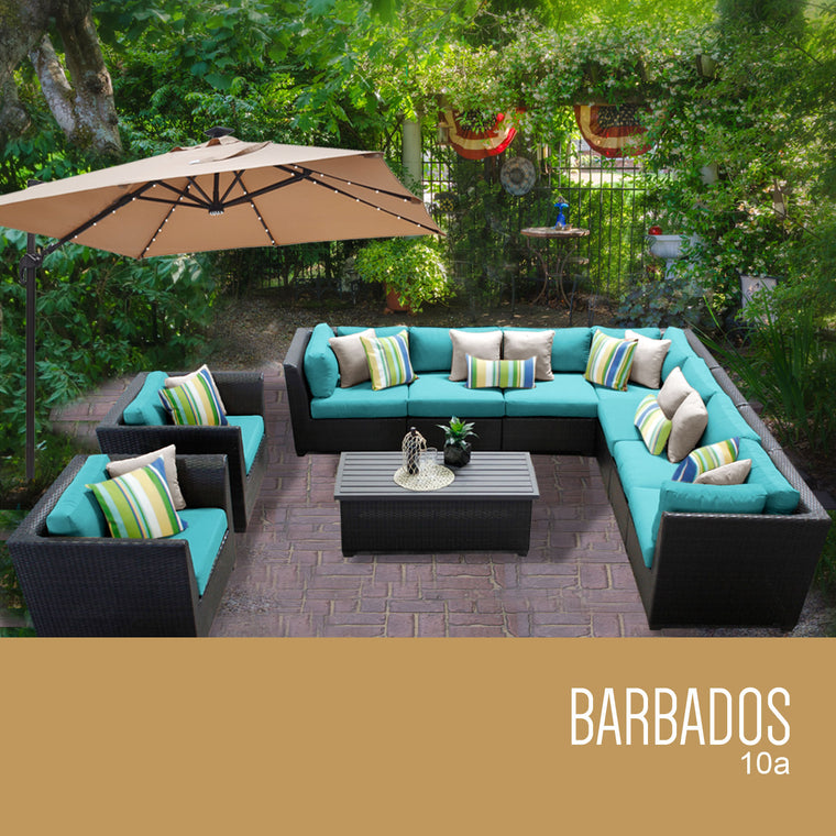 Barbados 10 Piece Outdoor Wicker Patio Furniture Set 10a , TK Classics- grayburd