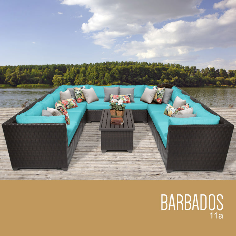 Barbados 11 Piece Outdoor Wicker Patio Furniture Set 11a , TK Classics- grayburd