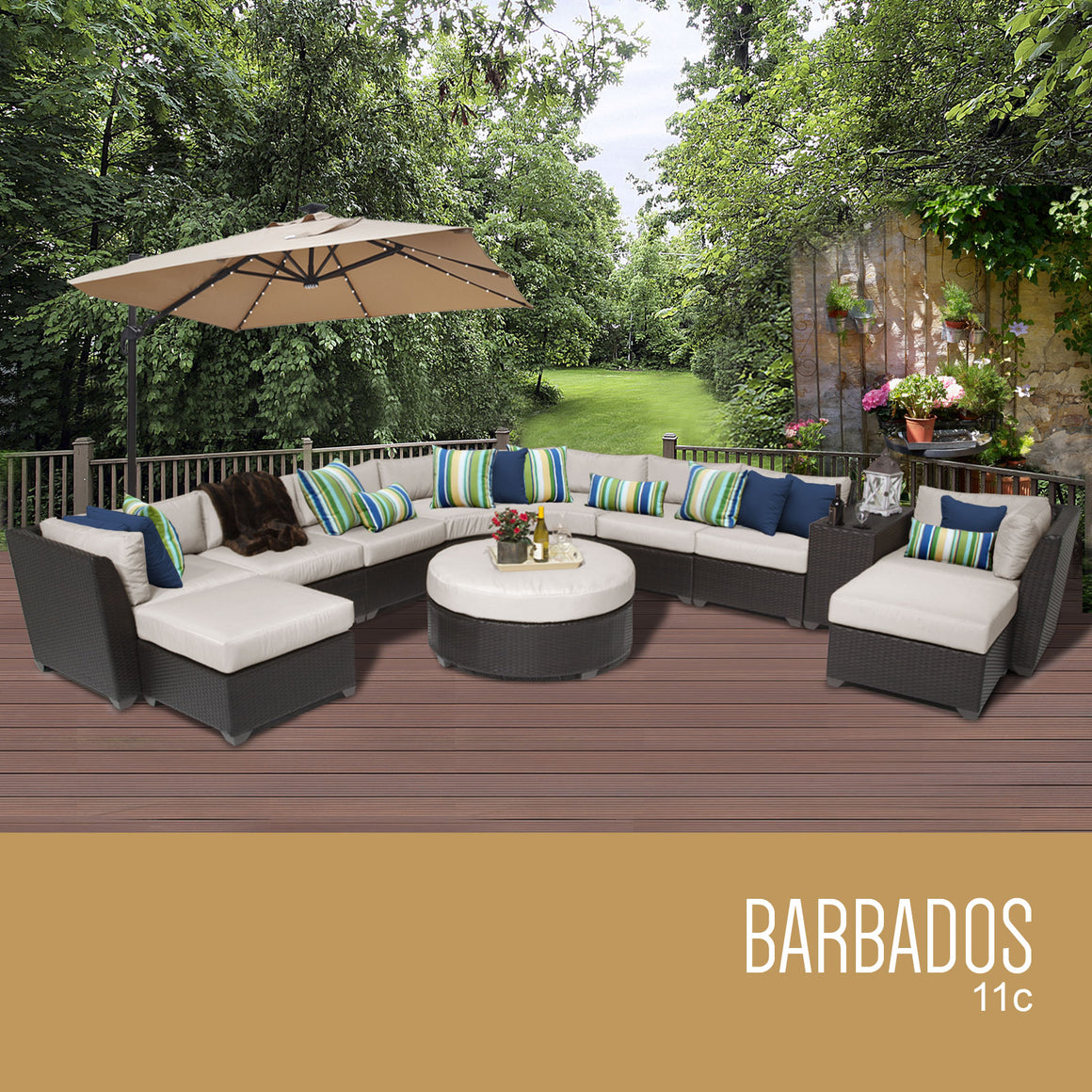 Barbados 11 Piece Outdoor Wicker Patio Furniture Set 11c , TK Classics- grayburd