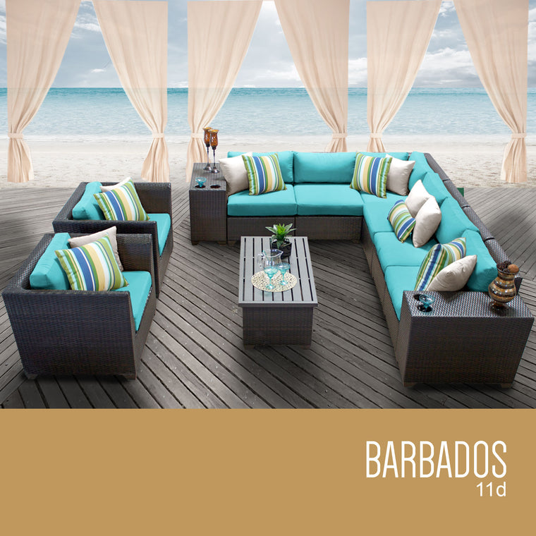 Barbados 11 Piece Outdoor Wicker Patio Furniture Set 11d , TK Classics- grayburd