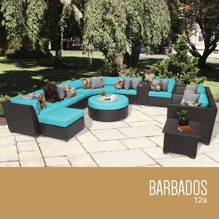 Barbados 12 Piece Outdoor Wicker Patio Furniture Set 12a , TK Classics- grayburd