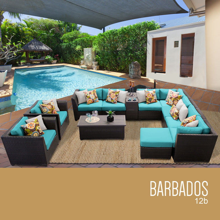 Barbados 12 Piece Outdoor Wicker Patio Furniture Set 12b , TK Classics- grayburd