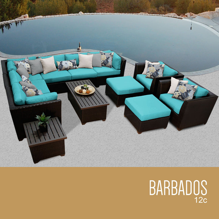 Barbados 12 Piece Outdoor Wicker Patio Furniture Set 12c , TK Classics- grayburd