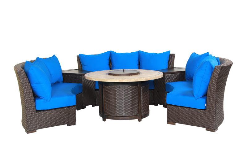 Bermuda 6-Piece Circular Sofa Set (Canvas Pacific Blue)