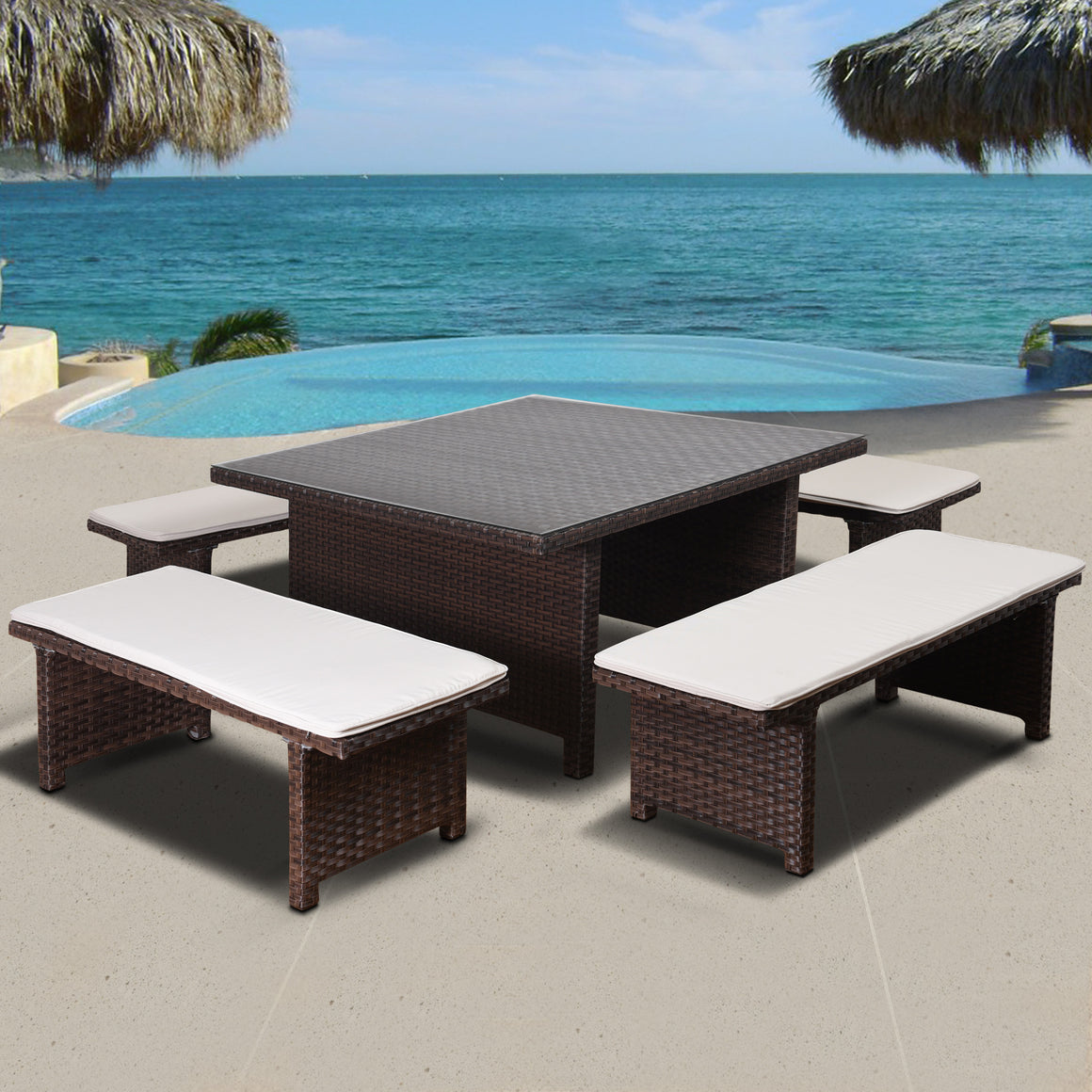 Atlantic Bellagio 5 Piece Low Patio Dining Set , International Home Miami- grayburd