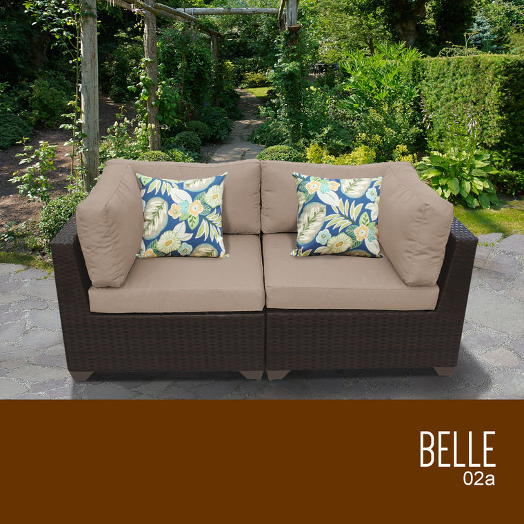 Belle 2 Piece Outdoor Wicker Patio Furniture Set 02a , TK Classics- grayburd