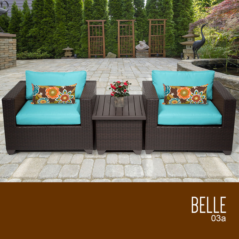 Belle 3 Piece Outdoor Wicker Patio Furniture Set 03a , TK Classics- grayburd