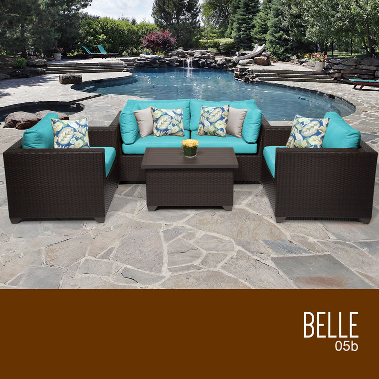 Belle 5 Piece Outdoor Wicker Patio Furniture Set 05b , TK Classics  Grayburd