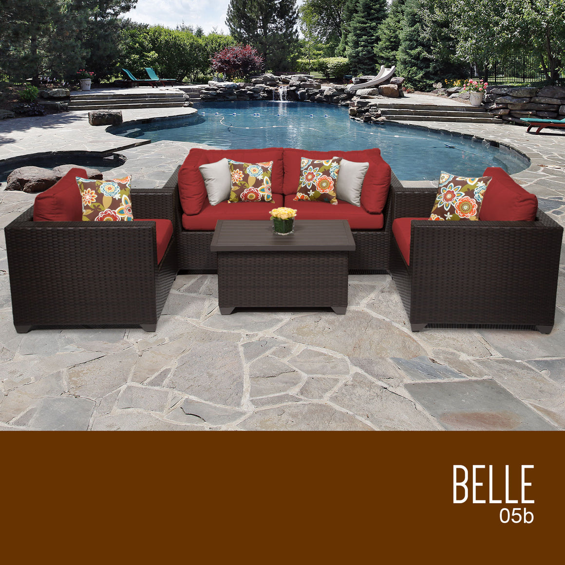 Belle 5 Piece Outdoor Wicker Patio Furniture Set 05b , TK Classics- grayburd