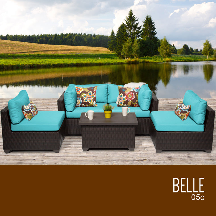Belle 5 Piece Outdoor Wicker Patio Furniture Set 05c , TK Classics- grayburd