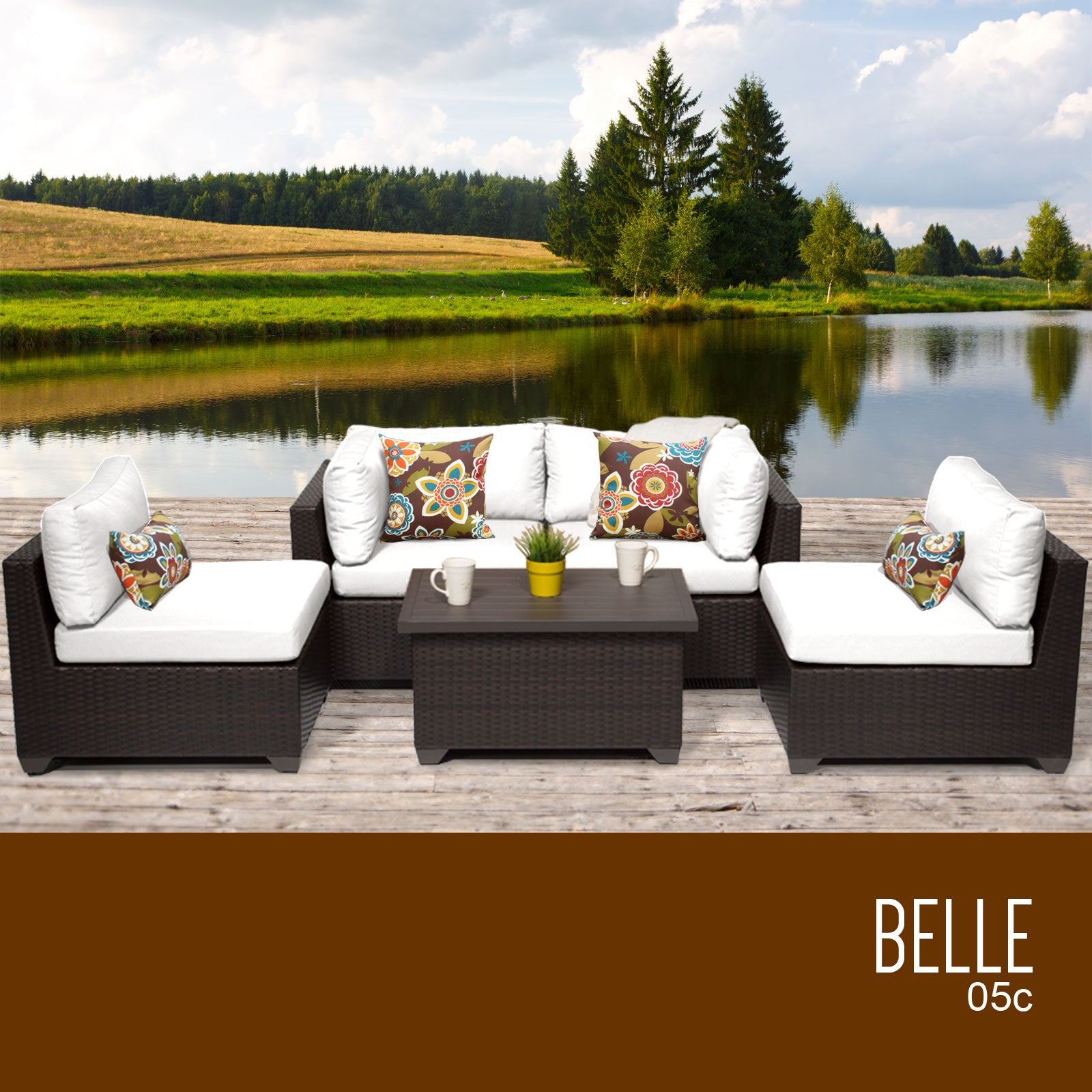 Belle 5 Piece Outdoor Wicker Patio Furniture Set 05c Grayburd