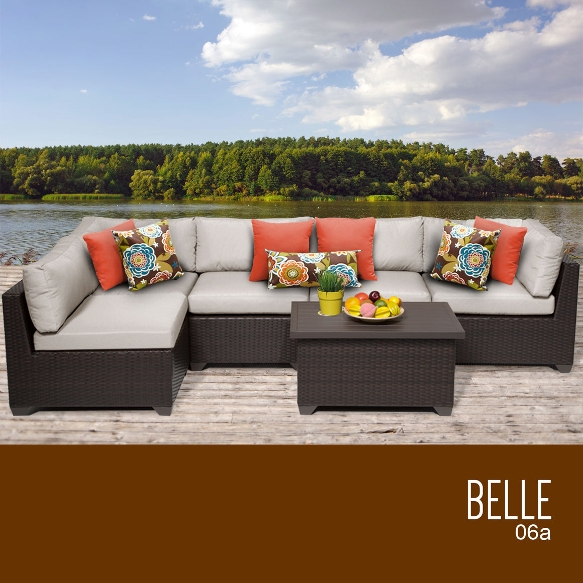 Belle 6 Piece Outdoor Wicker Patio Furniture Set 06a , TK Classics- grayburd