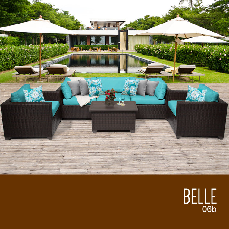 Belle 6 Piece Outdoor Wicker Patio Furniture Set 06b , TK Classics- grayburd