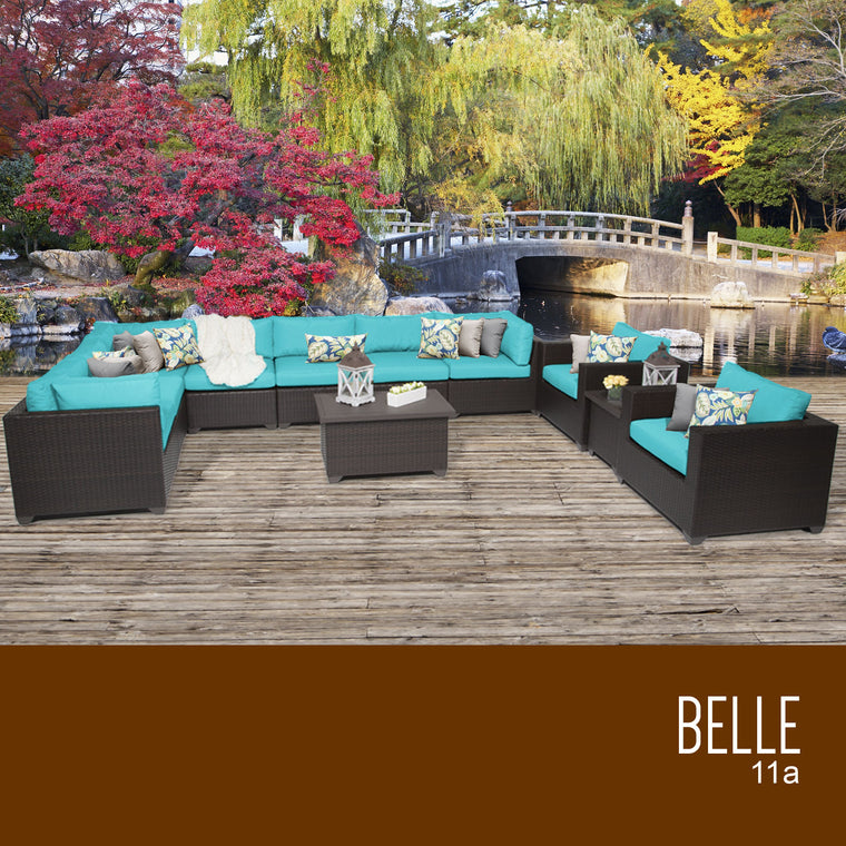 Belle 11 Piece Outdoor Wicker Patio Furniture Set 11a , TK Classics- grayburd