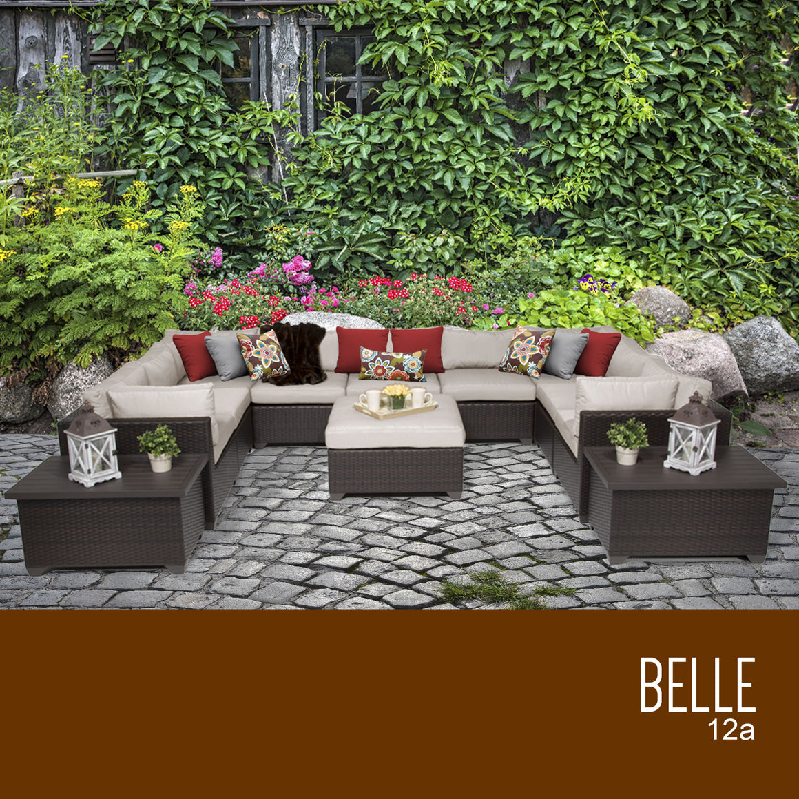 Belle 12 Piece Outdoor Wicker Patio Furniture Set 12a , TK Classics- grayburd