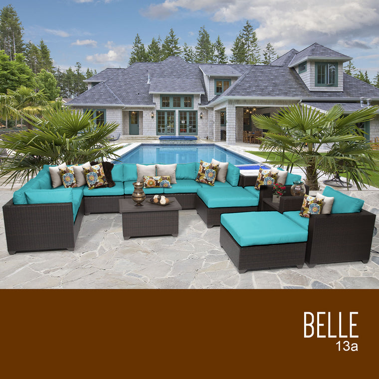 Belle 13 Piece Outdoor Wicker Patio Furniture Set 13a , TK Classics- grayburd