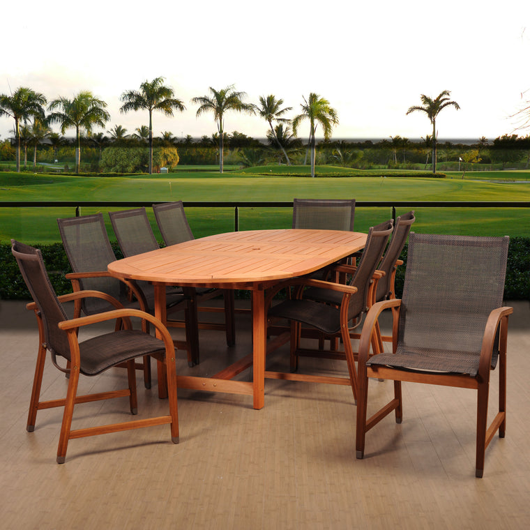 Amazonia Bahamas 9 Piece Eucalyptus Extendable Oval Dining Set , International Home Miami- grayburd