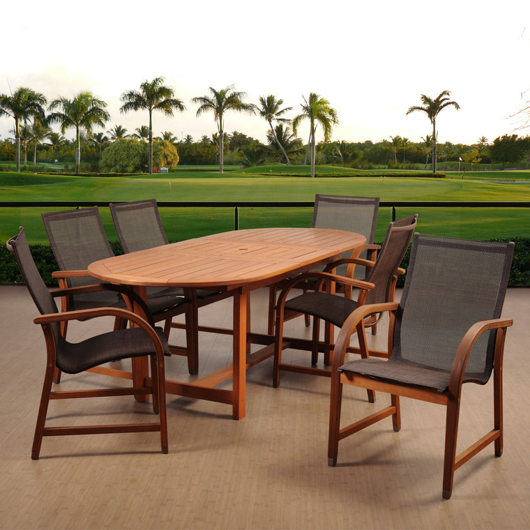Amazonia Bahamas 7 Piece Eucalyptus Extendable Rectangular Dining Set , International Home Miami- grayburd