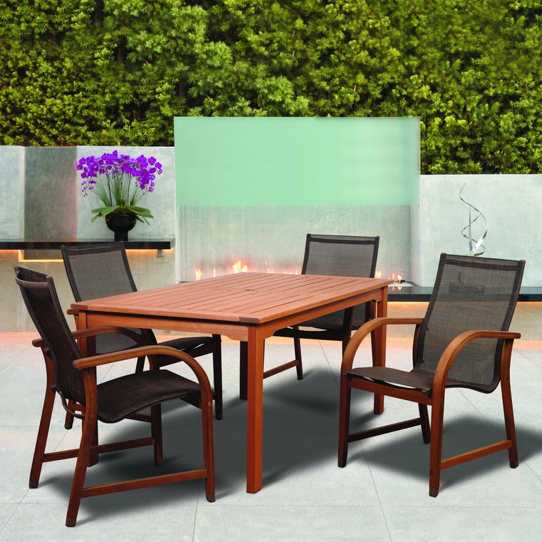 Amazonia Bahamas 5 Piece Eucalyptus Rectangular Dining Set with Brown Sling Chair , International Home Miami- grayburd