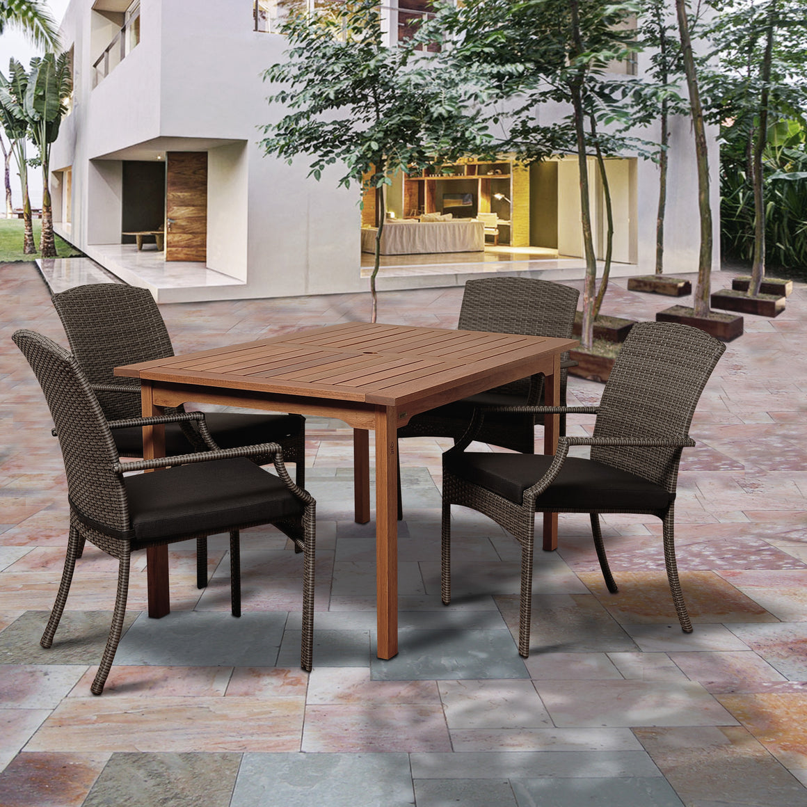 Warner 5 Piece Eucalyptus/Wicker Rectangular Dining Set with Grey Cushions , International Home Miami- grayburd