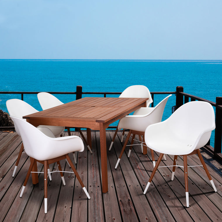 Amazonia Charlotte 7 Piece Rectangular Patio Dining Set , International Home Miami- grayburd
