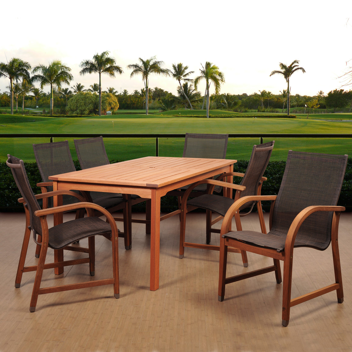 Amazonia Bahamas 7 Piece Eucalyptus Rectangular Dining Set , International Home Miami- grayburd