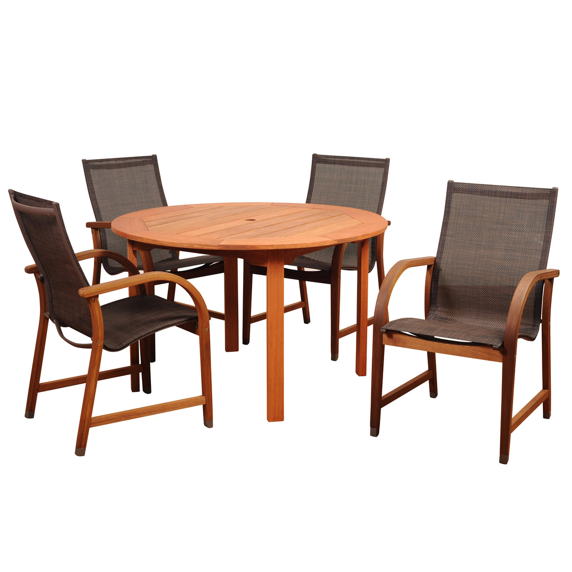 Amazonia Bahamas 5 Piece Ecualyptus Round Dining Set , International Home Miami- grayburd