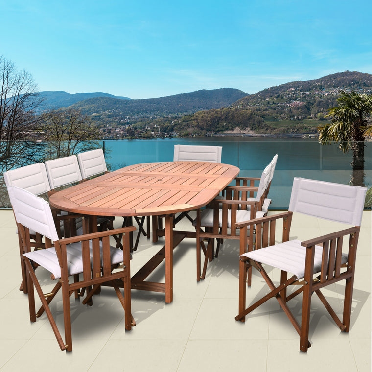 Amazonia Panama 9 Piece Patio Extendable Rectangular Dining Set , International Home Miami- grayburd