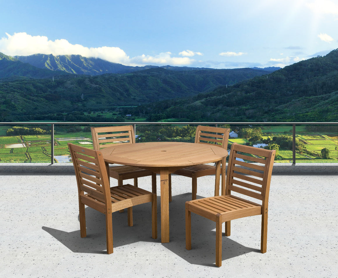 Eucalyptus 5 piece Armless Round Patio Dining Set , International Home Miami- grayburd