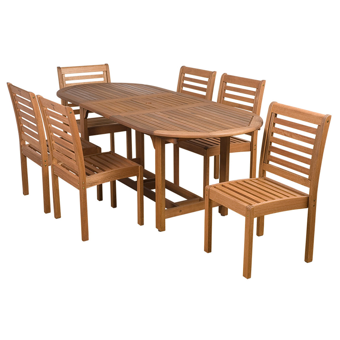 Eucalyptus 7 piece Armless Oval Extendable Patio Dining Set , International Home Miami- grayburd