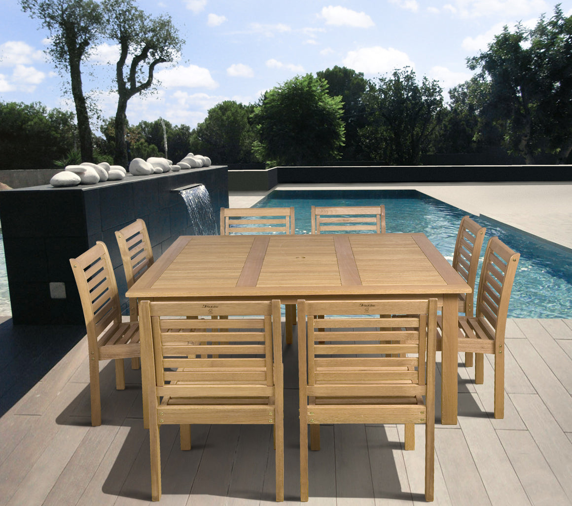 Eucalyptus 9 piece Armless Square Patio Dining Set , International Home Miami- grayburd
