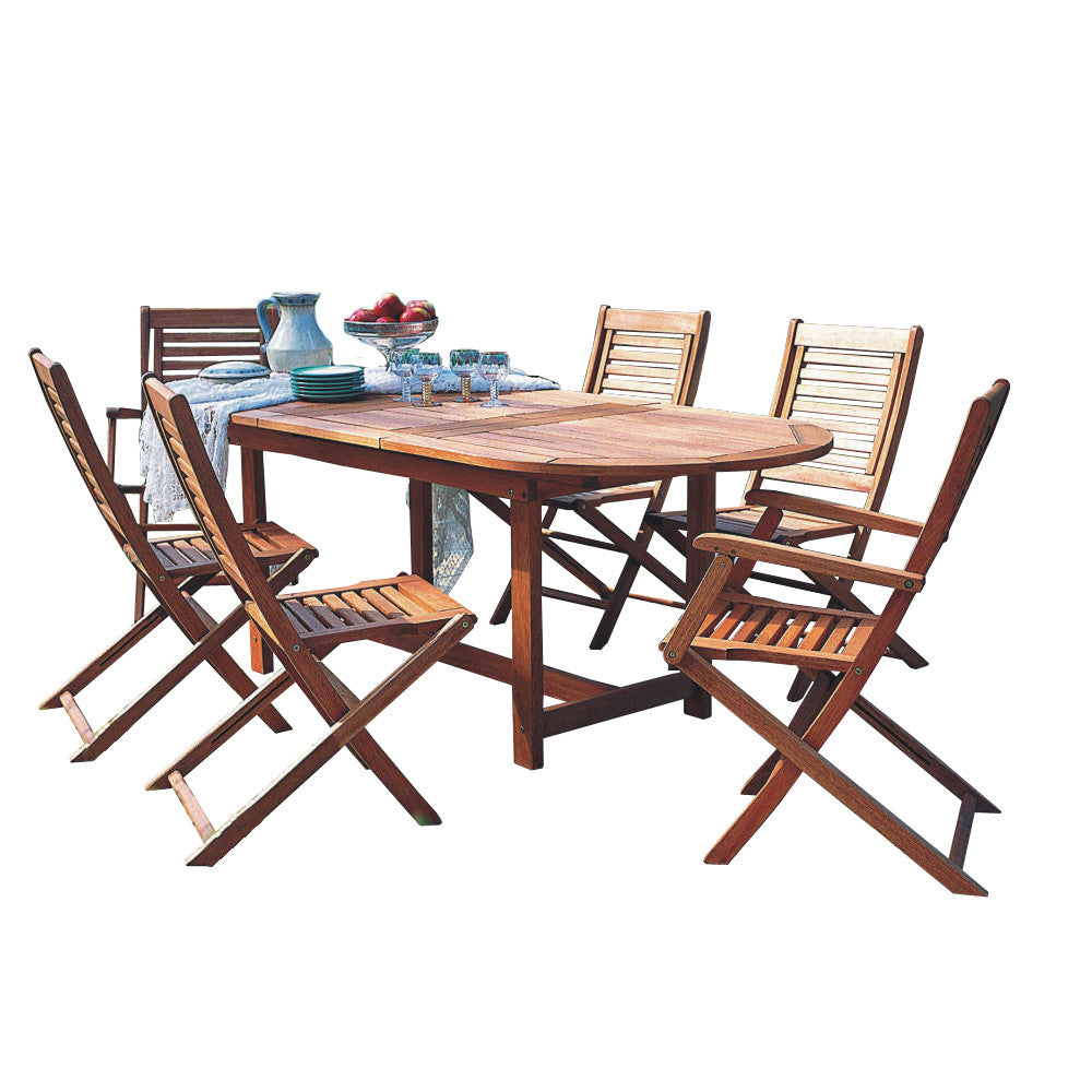 Milano Eucalyptus Oval Extendable 7 Piece Patio Dining Set , International Home Miami- grayburd