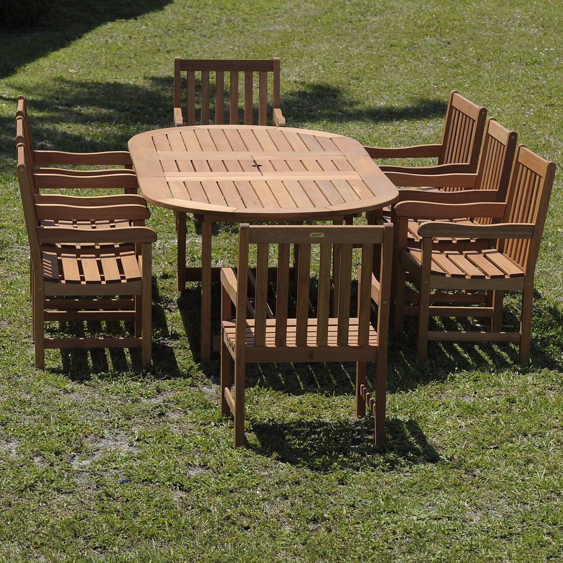 Milano Eucalyptus Grand Oval Extendable Deluxe Patio Dining Set , International Home Miami- grayburd
