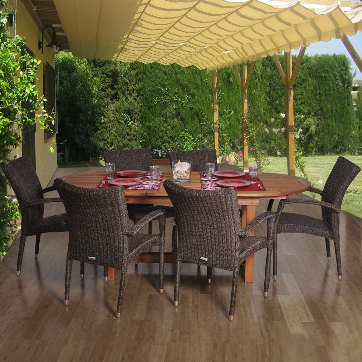 Lemans Deluxe 7 Piece Eucalyptus/Wicker Extendable Oval Patio Dining Set , International Home Miami- grayburd